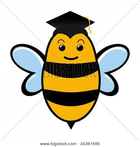 Graduating bee wearing a mortar board with tassel.