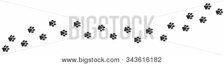 Footpath Trail Of Cat Over White Background. Vector Illustration
