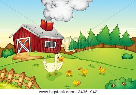 Illustration of animals on a farm