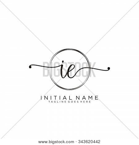 Ie Initial Handwriting Logo With Circle Template Vector.