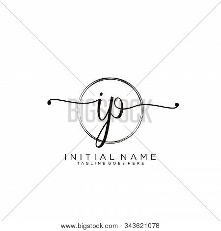 Ip Initial Handwriting Logo With Circle Template Vector.