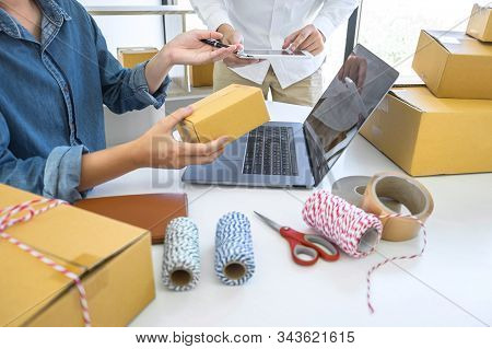 Young Entrepreneur Business Owner Work At Home, Small Business Startup Receive Order Client And Take