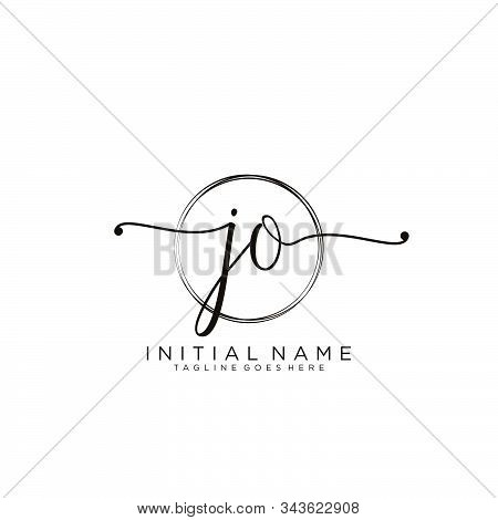 Jo Initial Handwriting Logo With Circle Template Vector.