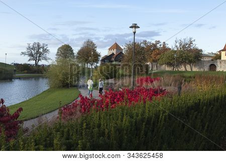 Visby, Sweden On October 12. View Of Almedalen Park This Side The City Wall On October 12, 2019 In V