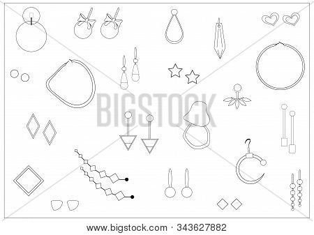 Set Of Jewelry Icons. Isolated Vector Designs Of Earring On White Background. Doodle. Sketch. Bijout