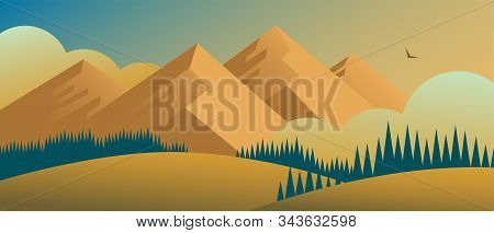 Beautiful Wildlife Landscape With Mountains And Forests. In The Distance A Cloud Eagle Flies. Vector