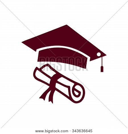 Graduation Hat, Diploma Icon Isolated On White Background. Graduation Hat, Diploma Icon In Trendy De