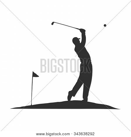 Golf Swing, Golf Player Isolated Silhouette, Golfer Illustration With Ball Flag And Club. Stock Vect