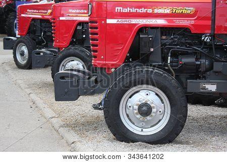 Novi Sad, Serbia - May 1, 2019 - Several Mahindra Red Tractors Models On Agri Fair In Novi Sad, Serb