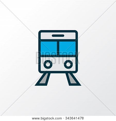 Train Icon Colored Line Symbol. Premium Quality Isolated Streetcar Element In Trendy Style.