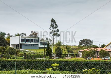 Vila Cha Near Esposende, Portugal - May 9, 2018: Architectural Detail Of A Modern House In A Small V