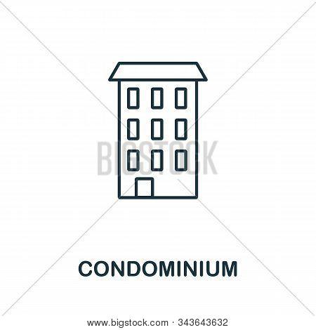 Condominium Icon. Line Style Symbol From Real Estate Icon Collection. Condominium Creative Element F