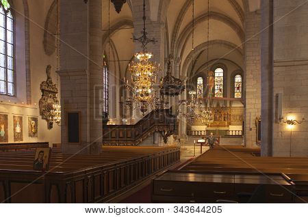 Visby, Sweden On October 10. The Interior Of The Cathedral, Dome On October 10, 2019 In Visby, Swede