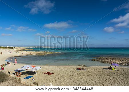 Formentera, Spain - September 12, 2017: Es Calo Beach To The Northeast, Long Coastline With Coves An