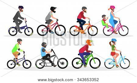 Big Set With Different Types And Colors Of Bicycles With Cyclists In Helmets Folding, Bmx, Cruiser,
