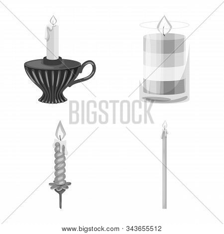 Vector Design Of Paraffin And Fire Sign. Set Of Paraffin And Decoration Stock Vector Illustration.