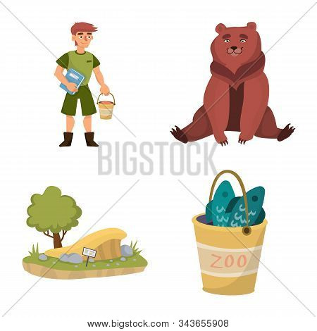 Vector Design Of Zoo And Park Symbol. Collection Of Zoo And Animal Stock Symbol For Web.