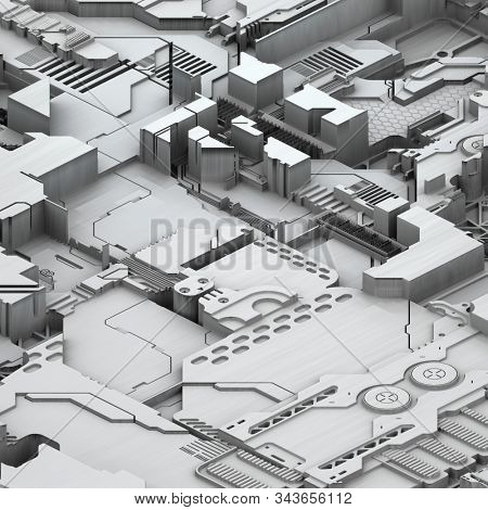 Circuit board futuristic server code processing. White technology background. 3d rendering abctract circuit board.