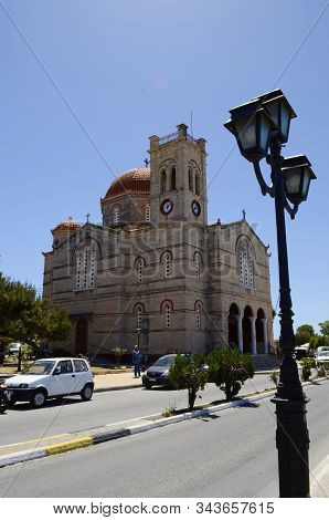 Aegina. Aegina Island. Greece. 23 May 2019 - Orthodoxy Crunch Ekklisia Isodia Theotokou