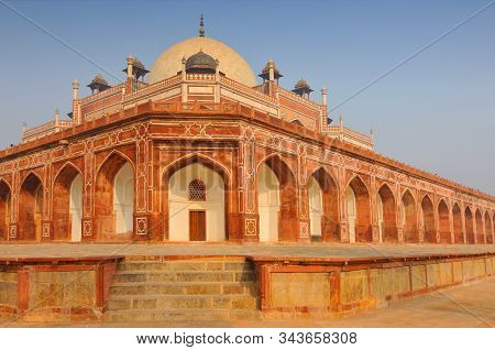 View Of Humayun's Tomb One Of The Most Famous Mughal Buldings In New Delhi, India.