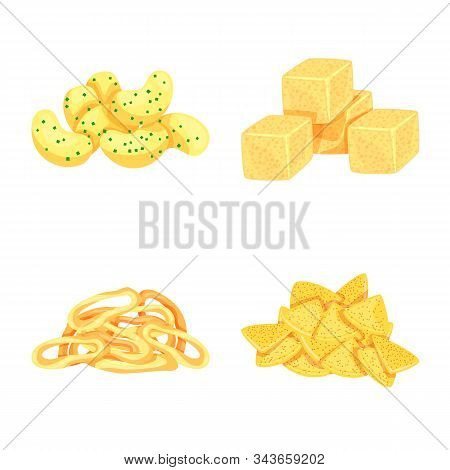 Vector Illustration Of Food And Crunchy Sign. Set Of Food And Flavor Stock Symbol For Web.