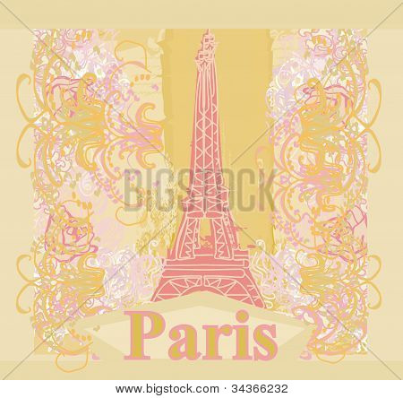 vintage retro Eiffel in Paris card , vector illustration