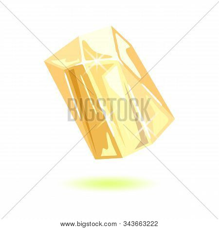 Sparkling Transparent Topaz. Polished Yellow Mineral, Gemstone Vector Illustration Isolated On White
