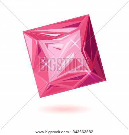 Polished Pink Square Cut Tourmaline. Amazing Rose Rubellite. Natural Quality Mineral, Gemstone Vecto