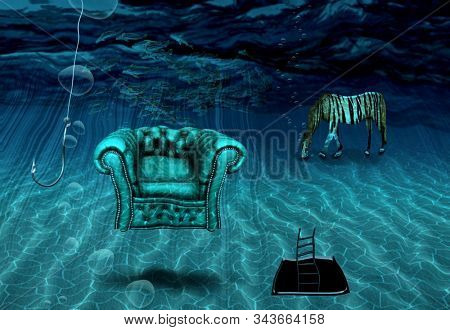 Surreal art. Armchair and striped horse are on a sea bottom. Fishing hook. Ladder from hole in sea bottom. 3D rendering