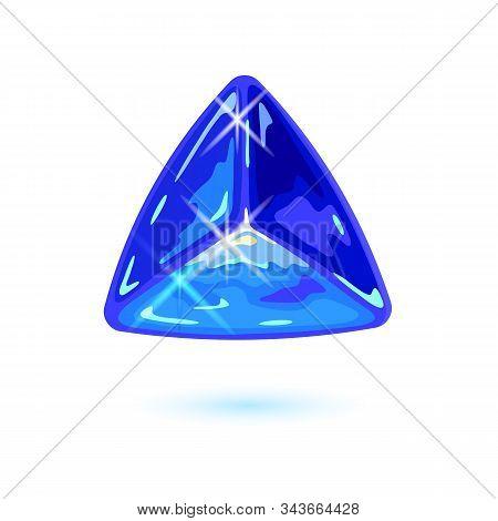 Sparkling Natural Triangle Shape Tanzanite. Specimen Of Blue Gemstone Vector Illustration Isolated O