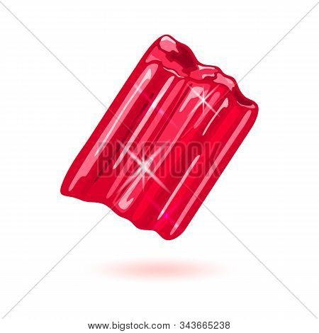 Chunk Of Natural Garnet. Specimen Of Red Beautiful Mineral, Gemstone Vector Illustration Isolated On