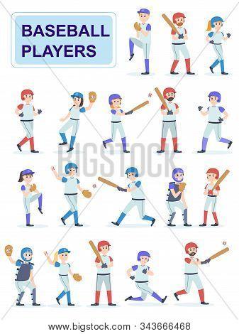 Set Of Baseball Players At Classic Uniform. Men And Girls Play Baseball Serve And Beat Off A Ball.