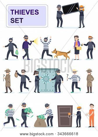Set Of Criminals In Different Poses. Criminals And Thieves Risk And Rob Banks And People.