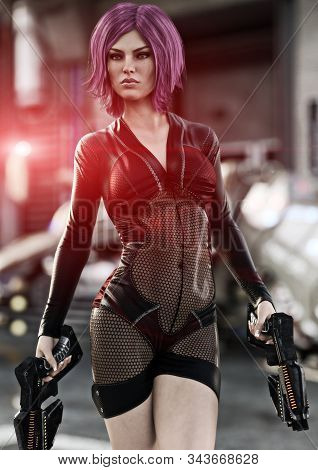 Futuristic Female Holding Duel Laser Pistols  Posing In Front Of Her Ship Ready For Combat. 3d Rende