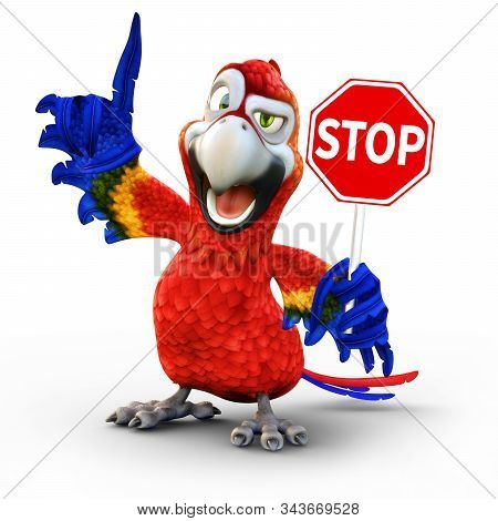 Humorous Parrot Holding A Stop Sign (stop And Look Concept) 3d Rendering