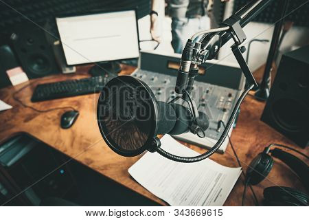 Radio Station Microphone In Recording Studio Or Broadcast Room, Working Place Of Radio Host, Close U