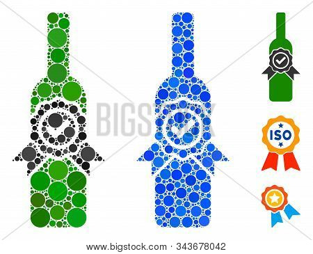 Finest Wine Composition Of Round Dots In Different Sizes And Shades, Based On Finest Wine Icon. Vect