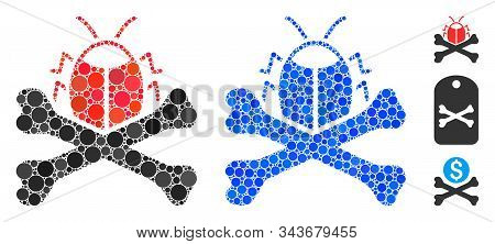 Pesticide Composition Of Round Dots In Various Sizes And Color Hues, Based On Pesticide Icon. Vector