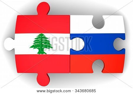 Cooperation Between Russia And Lebanon. Puzzles With Flags Of Russian Federation And Lebanon Togethe