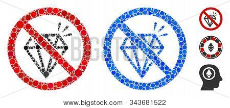 No Brilliant Mosaic Of Round Dots In Various Sizes And Color Tints, Based On No Brilliant Icon. Vect