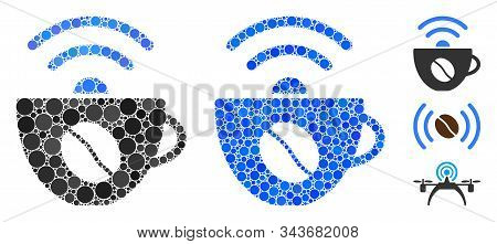 Coffee Wifi Source Mosaic Of Round Dots In Different Sizes And Color Tones, Based On Coffee Wifi Sou