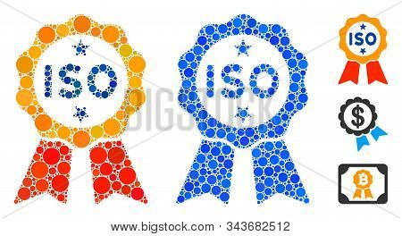 Iso Certified Mosaic Of Spheric Dots In Variable Sizes And Color Tints, Based On Iso Certified Icon.