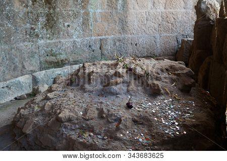 Emperor Julius Caesar Memorial At The Roman Forum In Rome, Italy