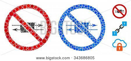 No Vpn Mosaic Of Filled Circles In Various Sizes And Color Tints, Based On No Vpn Icon. Vector Fille