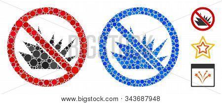 No Bang Mosaic Of Circle Elements In Variable Sizes And Color Hues, Based On No Bang Icon. Vector Ci