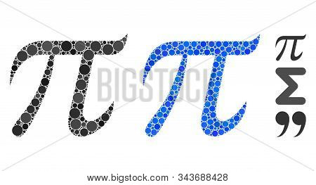 Pi Symbol Mosaic Of Circle Elements In Various Sizes And Color Hues, Based On Pi Symbol Icon. Vector