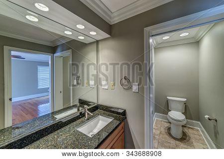 Horizontal Shot Of A Modern Upscale Bathroom.