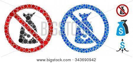 No Funds Mosaic Of Small Circles In Various Sizes And Color Tinges, Based On No Funds Icon. Vector R