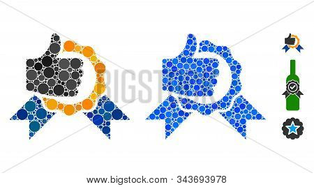 Excellent Composition Of Round Dots In Various Sizes And Color Tints, Based On Excellent Icon. Vecto