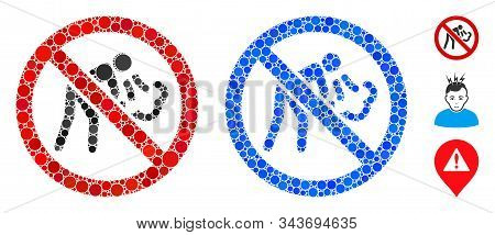 No Vomit Mosaic Of Small Circles In Variable Sizes And Color Tones, Based On No Vomit Icon. Vector S